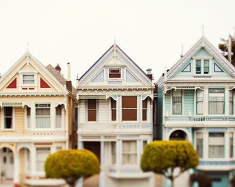 "Victorian Houses, San Francisco Art, California Photography, Urban Wall Decor, Large Wall Art,Whimsical Home Decor,Travel ""Three Victorians"""