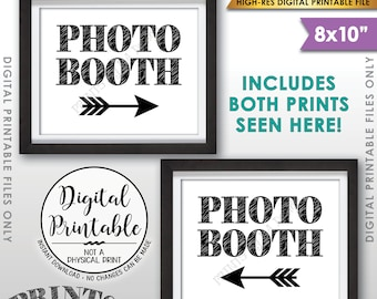 """Photobooth Directions, Point to Photobooth Sign, Right & Left Arrow to Photo Booth This Way Sign, Two 8x10"""" Printable Instant Download Files"""