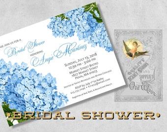 Blue Hydrangea Printed Bridal Shower Invitations - Vintage Floral, Blue Invitation - Custom Bridal Shower, Bridesmaid Luncheon Invite