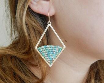 Gold dangle earrings with aqua blue beads, wire wrapped earrings, beach chic, boho style, statement earrings, handmade jewelry