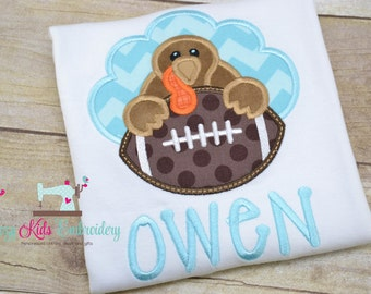 Thanksgiving fall turkey football shirt boy kid child baby infant toddler applique embroidery custom personalized name