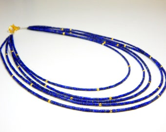 70%OFF Lapis Lazuli Tube Beads Necklace 100 Percent Natural Gemstone 1.Necklace 5.String - Size 2.mm Approx  - 0491