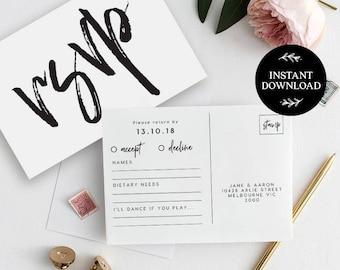Weddings etsy il rsvp postcard template instant download editable pdf rsvp cards rsvp postcard rsvp maxwellsz
