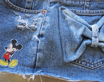 Vintage Denim Bow Mickey High Waisted Mustang Cut Off Jeans Shorts