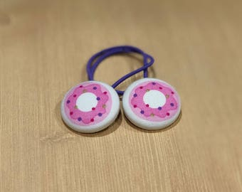 "1 1/8"" Size 45 Pink/Purple/Red/Green/White Donut Fabric Covered Button Hair Tie / Ponytail Holder / Party Favor (Set of 2)"