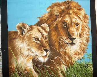 Set of 2 Lion and Lioness Quilt Sewing Pillow Top Panels