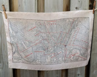 Winnipeg Vintage Map Tea Towel - FREE SHIPPING