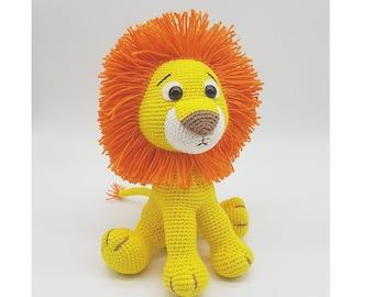 Amigurumi lion, plush toy, stuffed animal, crochet toy. kawaii lion cub, handmade plushie