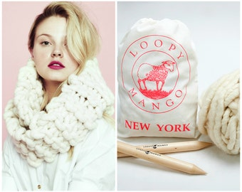 Loopy Mango DIY Kit - Eternity Knitted Cowl - Super Chunky Merino Wool