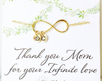 Mothers day gift, personalized infinity NECKLACE, family initials, grandmother gift, mother of the groom, card for mom, otis b,