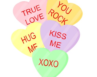 Candy Hearts Valentine Digital Download for iron-ons, heat transfer, Scrapbooking, Cards, Tags, Signs, DIY, YOU PRINT