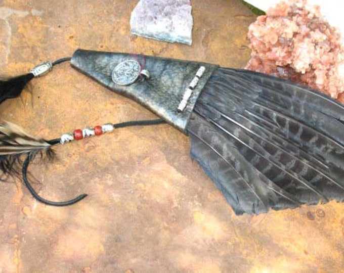 Featured listing image: Hand Made Dyed Pheasant Wing Smudge Fan with with Custom Leather and Dragon/Goddess Medallion