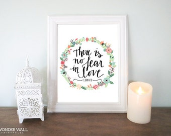 There is No Fear in Love Bible Verse 8x10 Printables Scripture Inspirational Printable