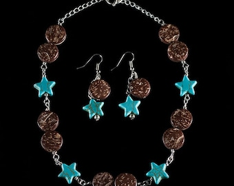 Howlite Star/Wood Rounds Necklace and Earring Set