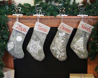 Personalised Silver Christmas Stockings