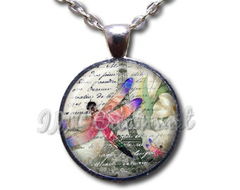 Dragonfly in Paris - Round Glass Dome Pendant or with Necklace