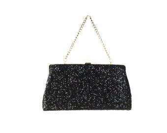 black glitter clutch, black formal bag, black evening bag, 60s bag, vintage clutch, 1950s purse, 50s purse, black clutch