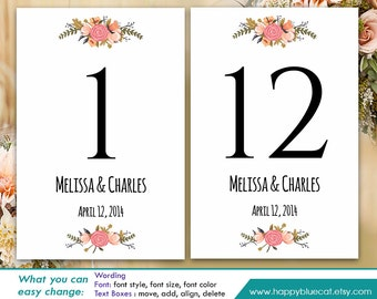 "DiY Printable Table Number Card Template - Instant Download - EDITABLE TEXT - Rustic Vintage Floral 4""x6"" - Microsoft® Word Format HBC4n"