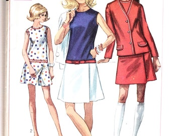 Vintage 1960's Women's Mod Pant Dress/Culottes Dress and Jacket Sewing Pattern Size 14 Bust 36 Simplicity 8098