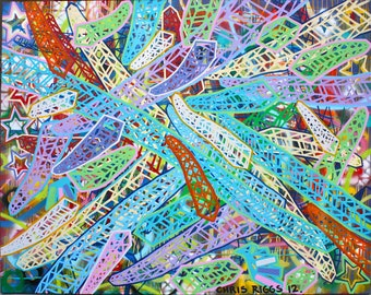 FREE SHIPPING large original urban cubism colorful modern contemporary street art fine art pop art abstract painting canvas