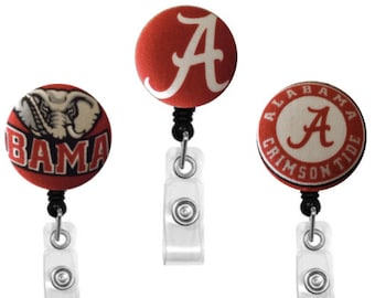 ID Badge Holder Retractable • Badge Clip • Gift • Badge Holder •  Nurse Badge Reel • ID Badge Reel • ID Badge Holder • Alabama Badge Reel