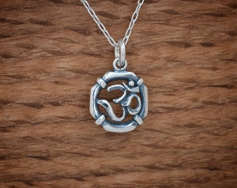 STERLING SILVER Ohm Om Charm or Earrings- Chain Optional