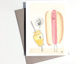 hot dog greeting card, watercolor card, cute folded greeting