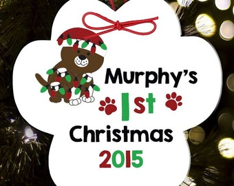 Personalized dog or cat paw print Christmas ornament for pet's first Christmas DCPO