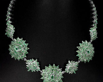Brazilian green Emerald necklace for women with Blue Sapphire 925 Sterling Silver