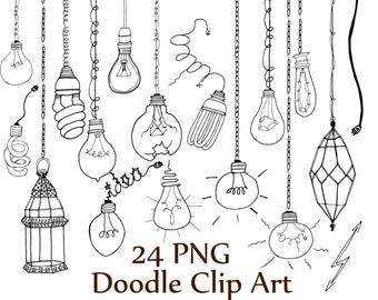 """Lightbulb doodle clipart: """"DOODLE CLIP ART"""" Light Bulb clipart Light clip art String Lights lantern clipart Line Art  Party Lights"""