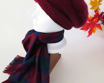 Vintage Cranberry RED KNIT Hat w Red TARTAN Plaid Wool Scarf / Soft red Tam & Wool Scarf / Winter - Fall Gift Set