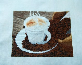 Coffee Cup Cross Stitch Hand Made Embroidery