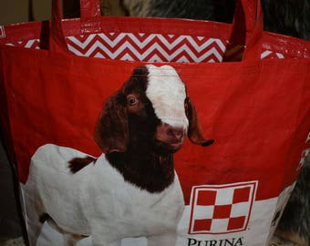 Recycled feed sack boar goat with a red chevron liner to match tote/bag/purse/shopping bag/stock show