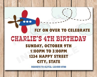 Airplane Birthday Invitation | Plane - 1.00 each printed