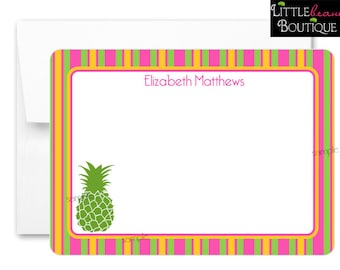 Pineapple Notecards, Pineapple Thank you notes, Flat notecards, Tropical Notecards, Thank you Notes, childrens stationary