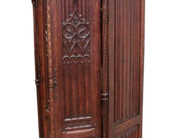 Impressive Antique French Gothic Cabinet, Armoire, Storage Cabinet, Oak, 19th Century #8558