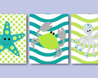 Grey Green Crab Starfish Seahorse Bathroom Decor Instant Download Art Playroom Art Digital Download Printable Art Decor set of 3 8x10 11X14