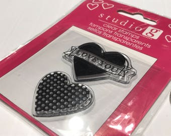 I Love You large heart, clear stamp set, 30 - 40 mm