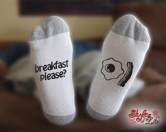 Breakfast Please Bacon and Eggs Socks