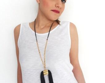 Long statement necklace, tassel necklace, black tassel, double tassel necklace, unique necklace, gold necklace, everyday necklace, modern