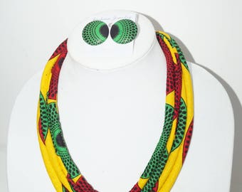 Yellow African Print Rope Necklace/ Gift for her/ Fabric covered necklace/ Shower gifts/ Statement Piece/ Bold Jewelry
