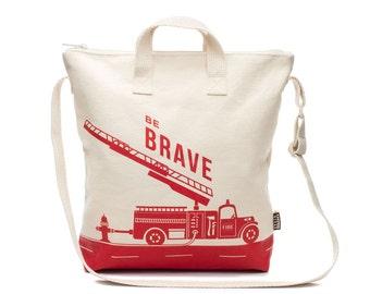 Vintage Firetruck Reusable Kids Tote Bag, Gift for Kids, Canvas Tote Bag, Boy's Tote Bag, Crossbody Bag, Daycare Bag, Preschool Bag