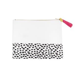 Love+Lemon Cosmetic Bag, Tassel Zipper Pull, Best Selling Black Polka Dot Pattern