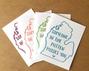 Michigan Card - The Mitten - Made in Michigan - Michigan Gift - Miss You - Missing You - Michigan - Michigan Greeting - Michigan Made
