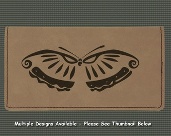 Engraved Leatherette Checkbook Cover - Butterfly Designs