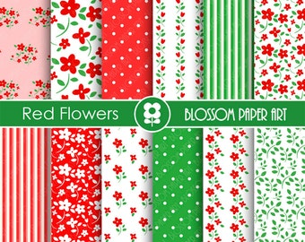 Red Digital Paper Red Flowers Digital Papers, Scrapbooking Paper Pack, Red & Green Floral Papers - INSTANT DOWNLOAD - 1767