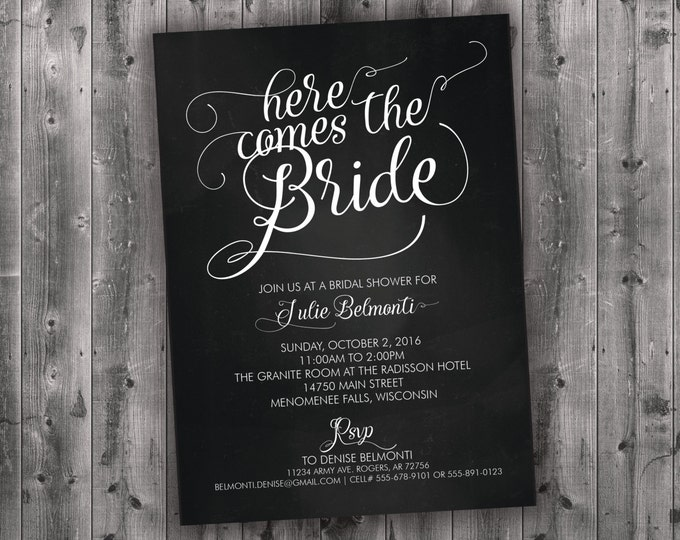 Chalkboard Bridal Shower Invitations Printed - Black & White, Here Comes the Bride, Affordable, Cheap, Rustic, Charming, Shabby Chic, Chalk