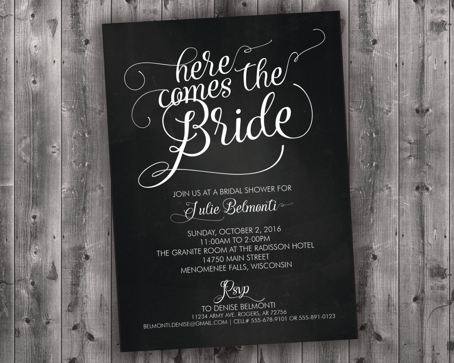 Chalkboard bridal shower invitations printed black white here chalkboard bridal shower invitations printed black white here comes the bride affordable cheap rustic charming shabby chic chalk filmwisefo
