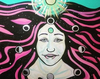 "Lunar Shadow Goddess Original acrylic painting 22"" x 28"""