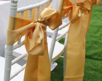 Gold Satin Chair Sashes Chair Bows Chair Ties Ribbon Wedding Engagement Birthday Anniversary Party Reception Ceremony Chair Decoration